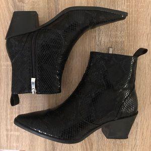 Zara black snake embossed heeled western booties